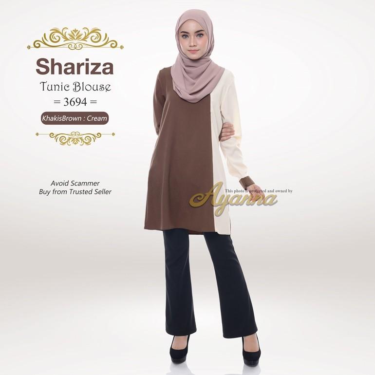 Shariza Tunic Blouse 3694 (KhakisBrown + Cream)
