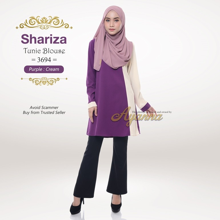 Shariza Tunic Blouse 3694 (Purple + Cream)