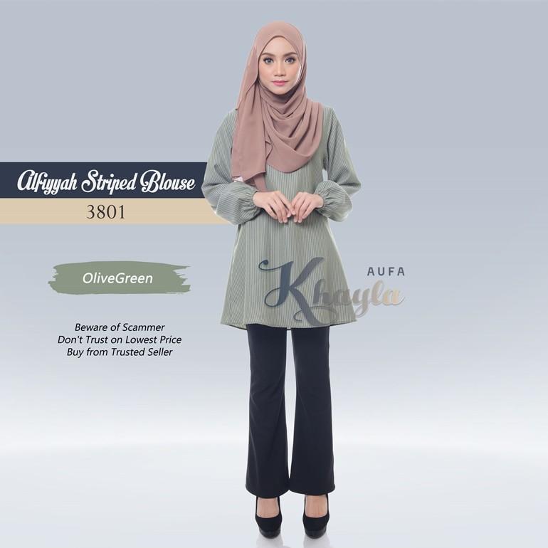 Alfiyyah Striped Blouse 3801 (OliveGreen)