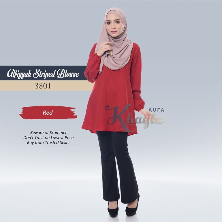 Alfiyyah Striped Blouse 3801 (Red)