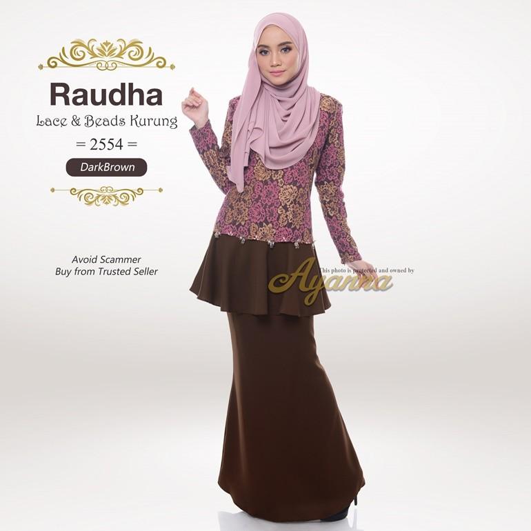 Raudha Lace & Beads Kurung 2554 (DarkBrown)