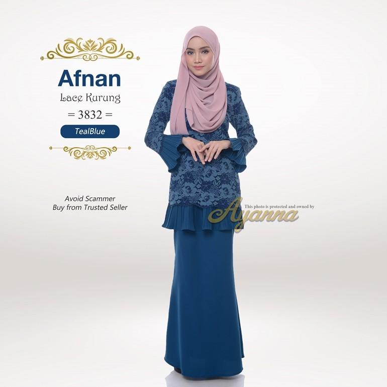Afnan Lace Kurung 3832 (TealBlue)