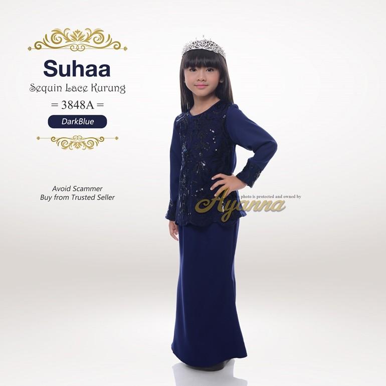 Suhaa Sequin Lace Kurung 3848A (DarkBlue)