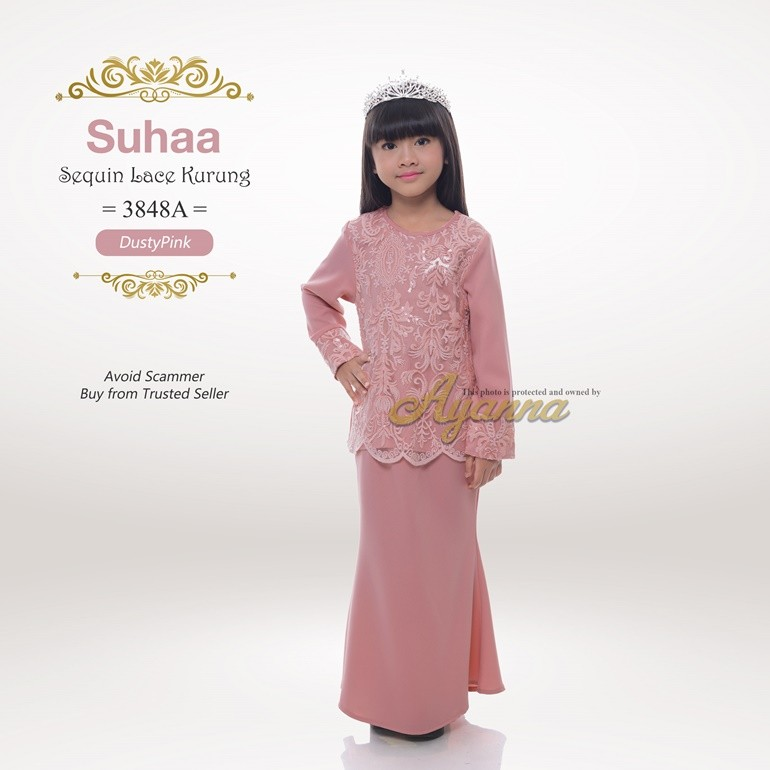 Suhaa Sequin Lace Kurung 3848A (DustyPink)