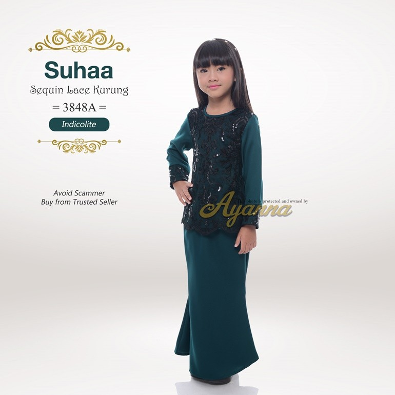 Suhaa Sequin Lace Kurung 3848A (Indicolite)