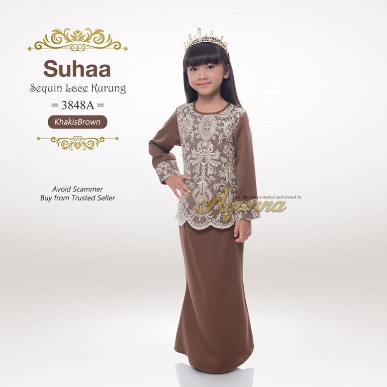 Suhaa Sequin Lace Kurung 3848A (KhakisBrown)