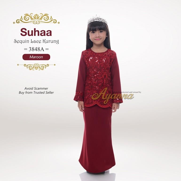 Suhaa Sequin Lace Kurung 3848A (Maroon)