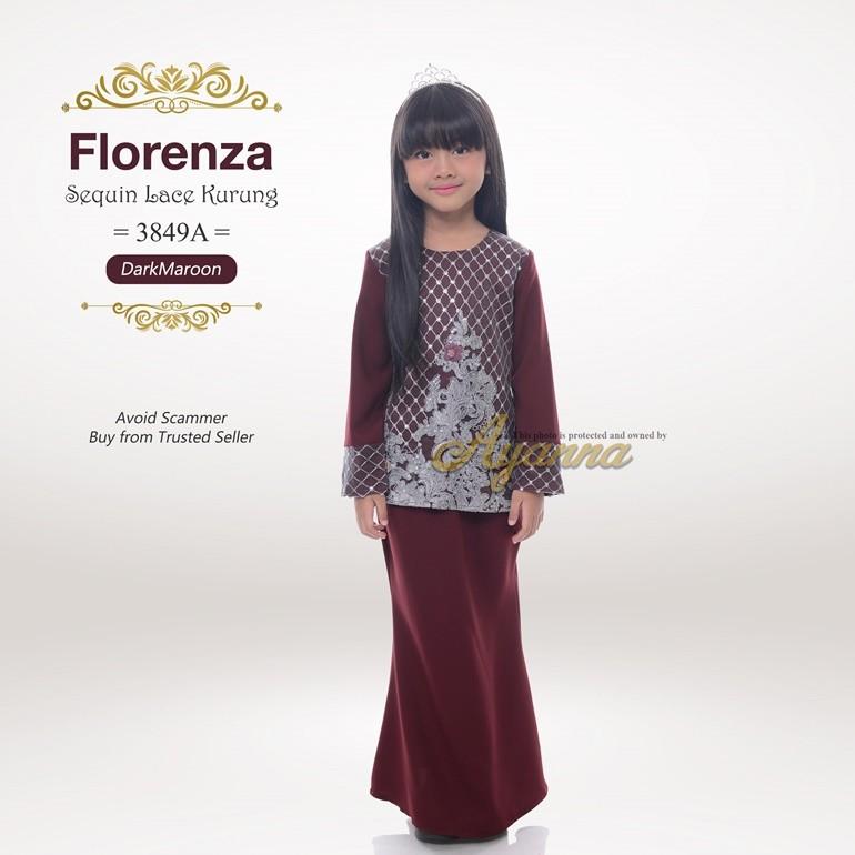 Florenza Sequin Lace Kurung 3849A (DarkMaroon)