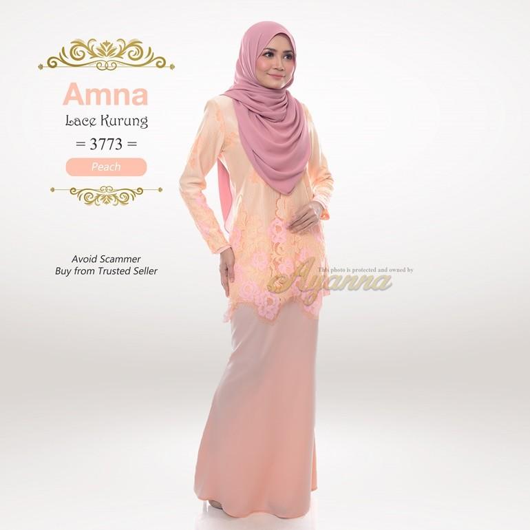 Amna Lace Kurung 3773 (Peach)