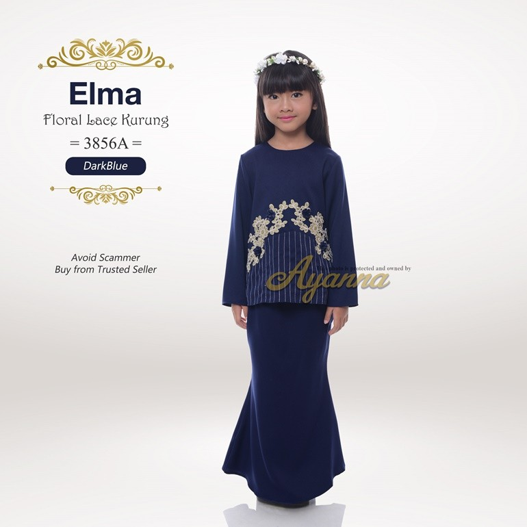 Elma Floral Lace Kurung 3856A (DarkBlue)