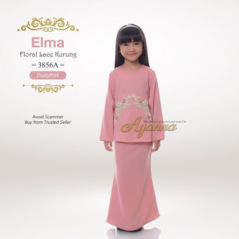 Elma Floral Lace Kurung 3856A (DustyPink)
