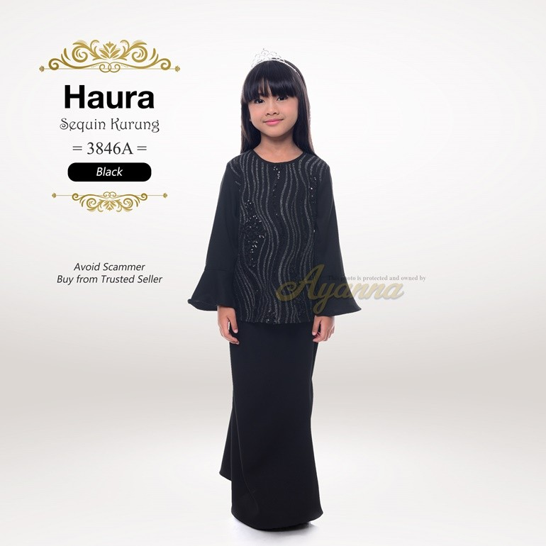 Haura Sequin Kurung 3846A (Black)