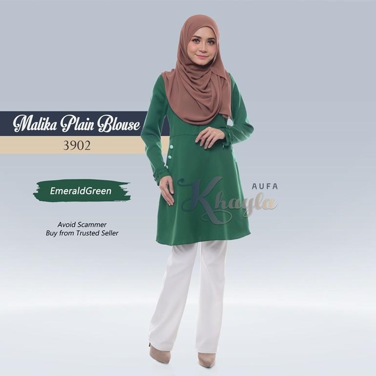 Malika Plain Blouse 3902 (EmeraldGreen)