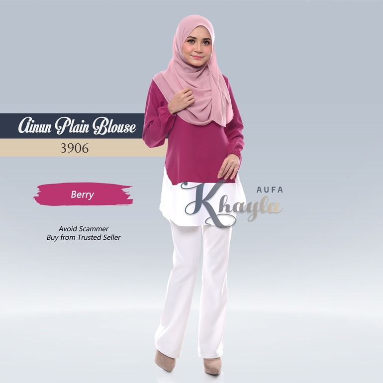 Ainun Plain Blouse 3906 (Berry)