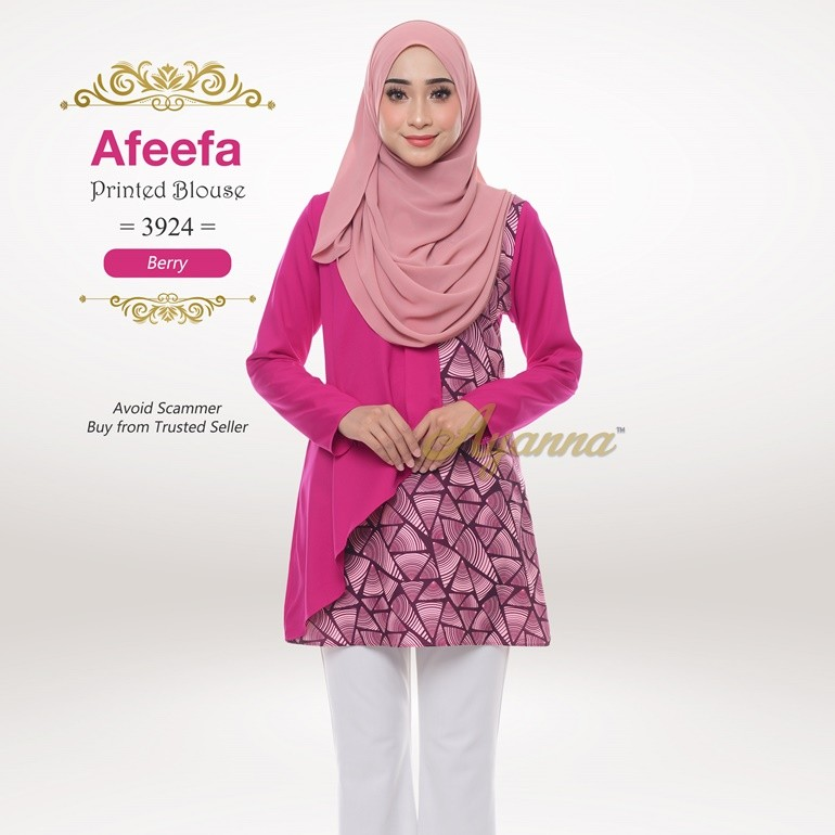 Afeefa Printed Blouse 3924 (Berry)