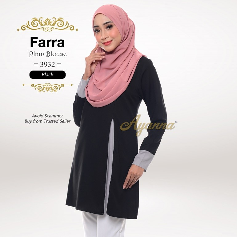 Farra Plain Blouse 3932 (Black)