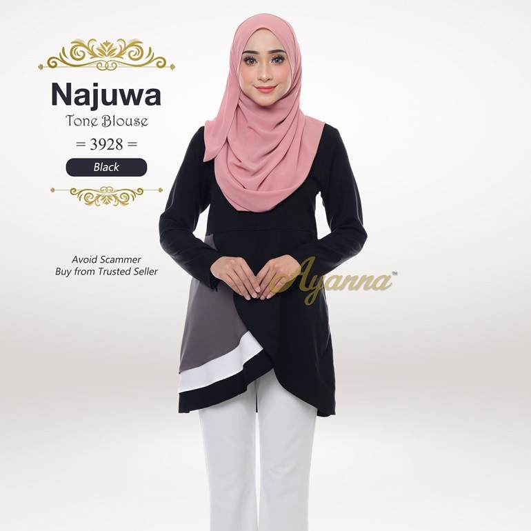Najuwa Tone Blouse 3928 (Black)