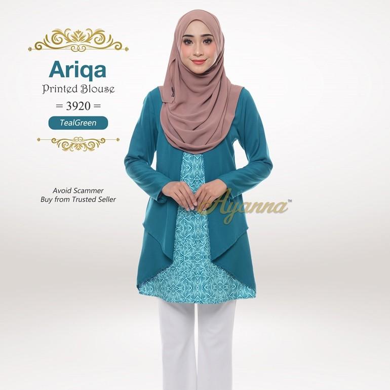 Ariqa Printed Blouse 3920 (TealGreen)