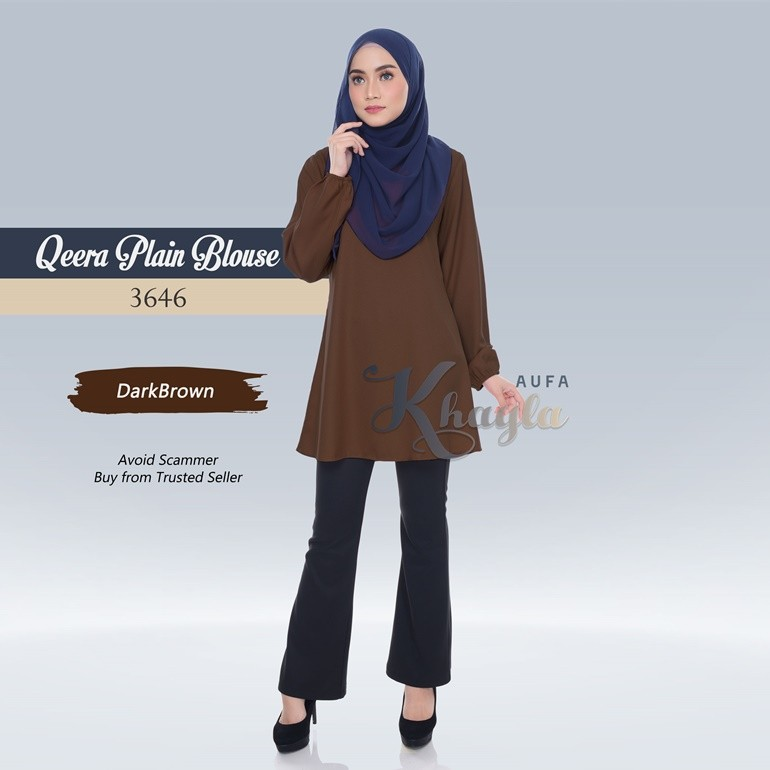 Qeera Plain Blouse 3646 (DarkBrown)