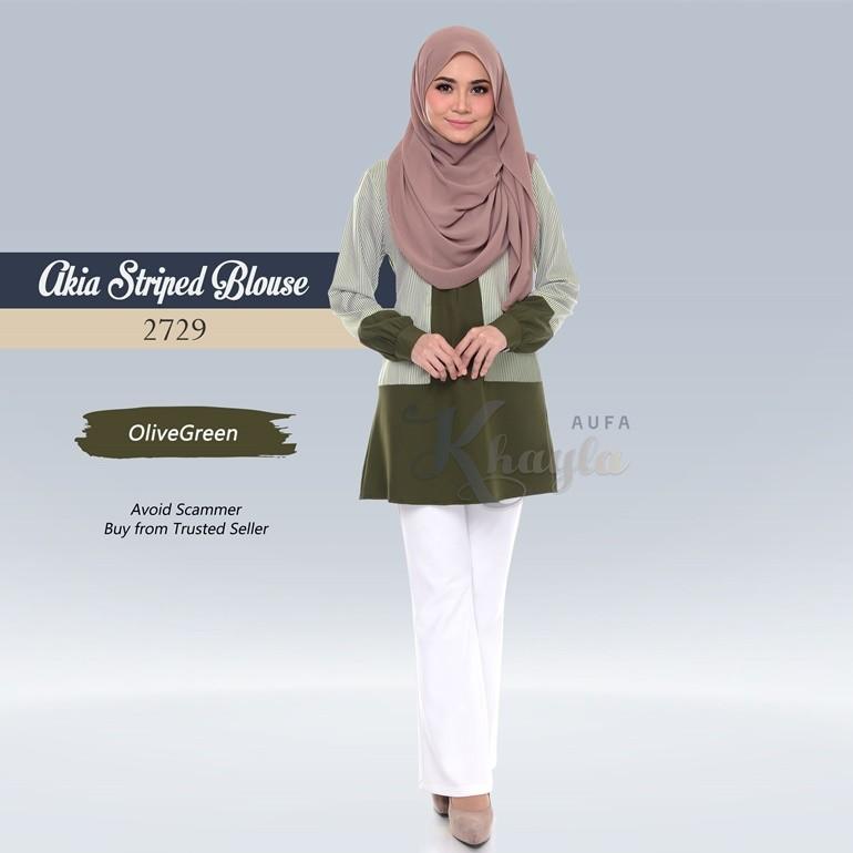 Akia Striped Blouse 2729 (OliveGreen)