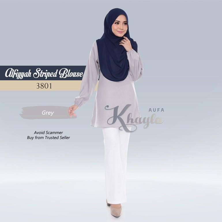 Alfiyyah Striped Blouse 3801 (Grey)