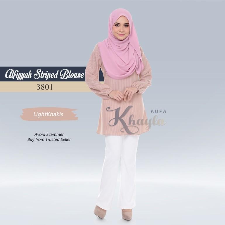 Alfiyyah Striped Blouse 3801 (LightKhakis)
