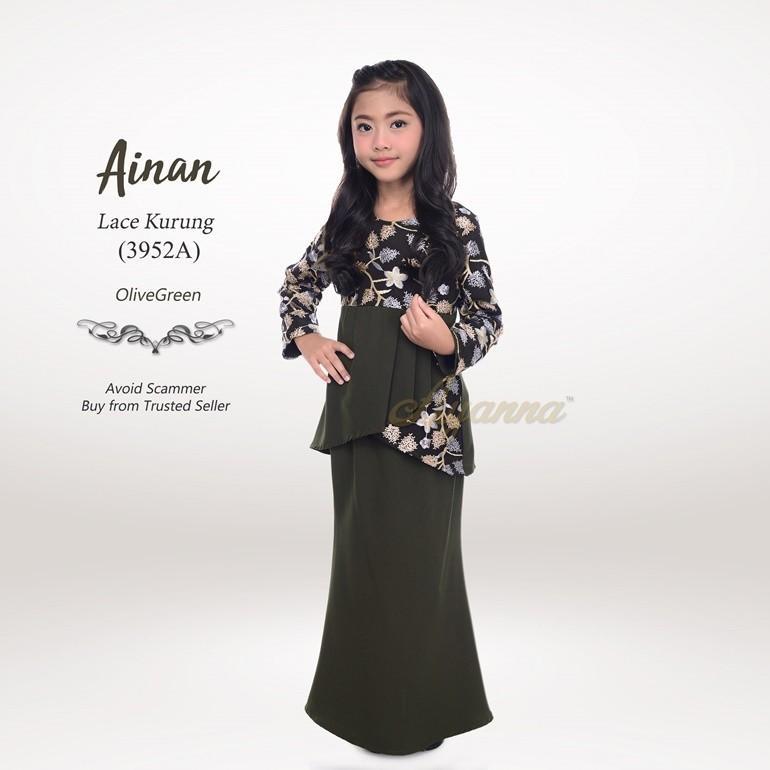 Ainan Lace Kurung 3952A (OliveGreen)