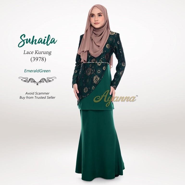 Suhaila Lace Kurung 3978 (EmeraldGreen)