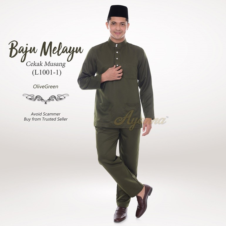 Baju Melayu Cekak Musang L1001-1 (OliveGreen)