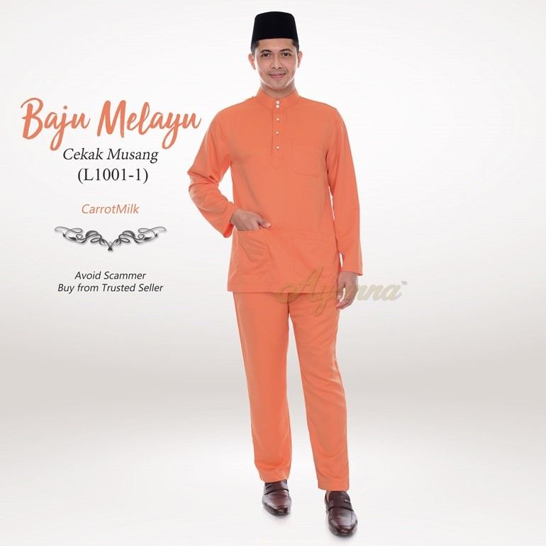 Baju Melayu Cekak Musang L1001-1 (CarrotMilk)