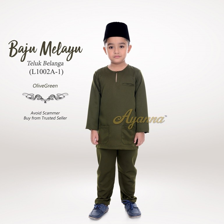 Baju Melayu Teluk Belanga L1002A-1 (OliveGreen)
