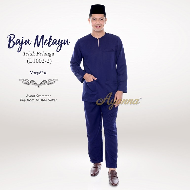 Baju Melayu Teluk Belanga L1002-2 (NavyBlue)