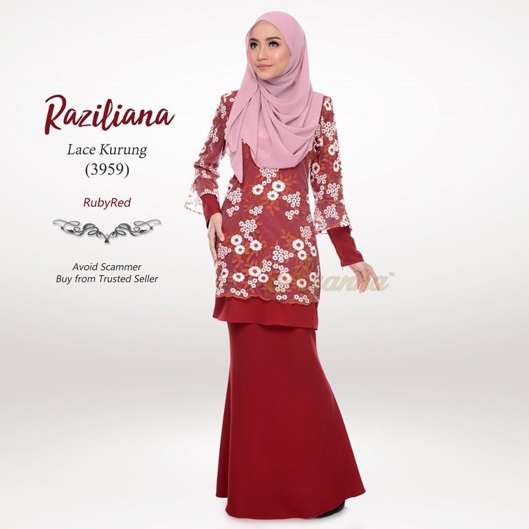 Raziliana Lace Kurung 3959 (RubyRed)