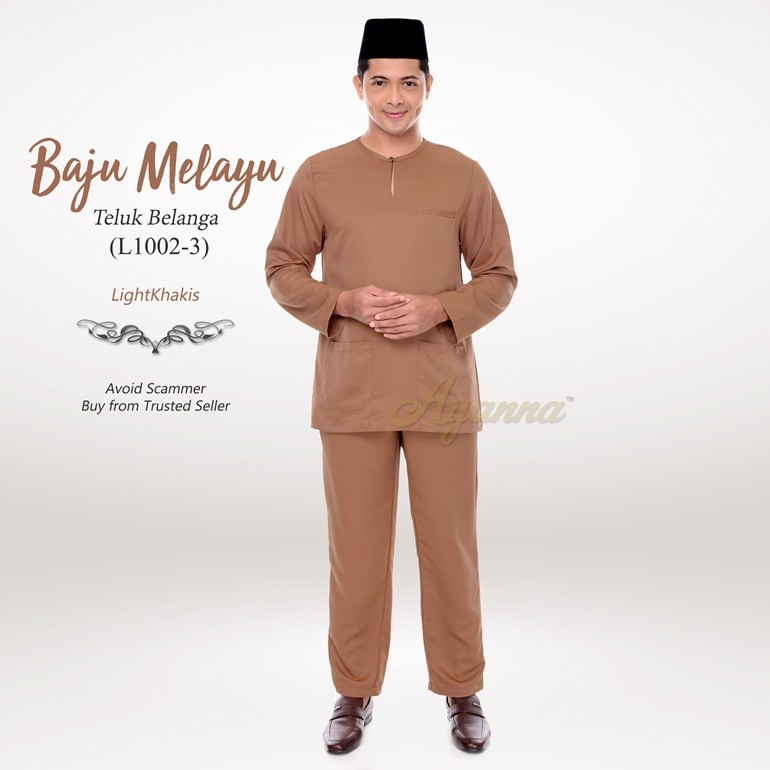 Baju Melayu Teluk Belanga L1002-3 (LightKhakis)