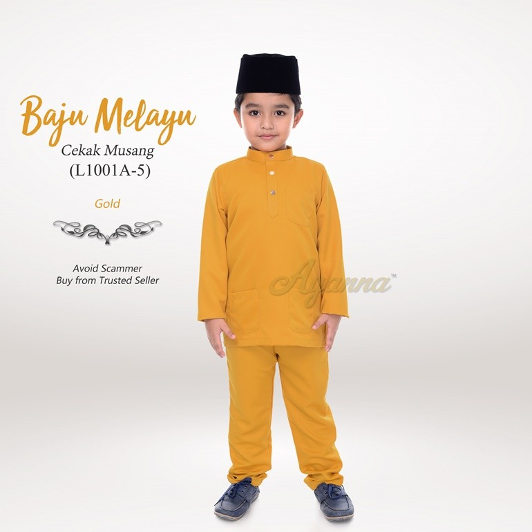 Baju Melayu Cekak Musang L1001A-5 (Gold)