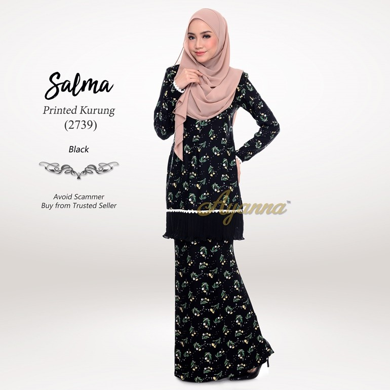 Salma Printed Kurung 2739 (Black)