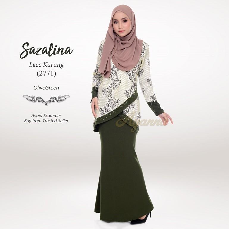 Sazalina Lace Kurung 2771 (OliveGreen)