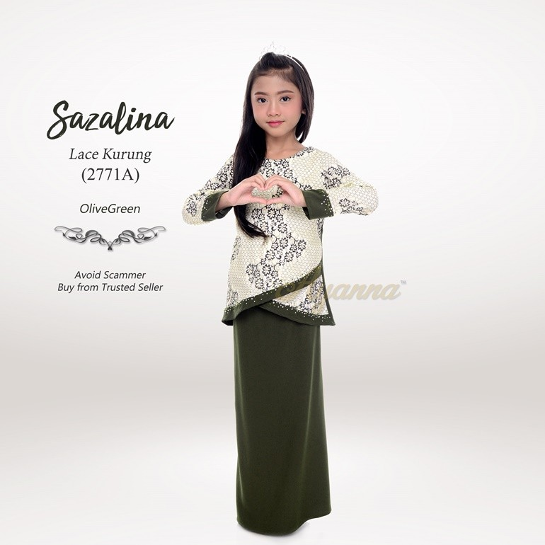 Sazalina Lace Kurung 2771A (OliveGreen)