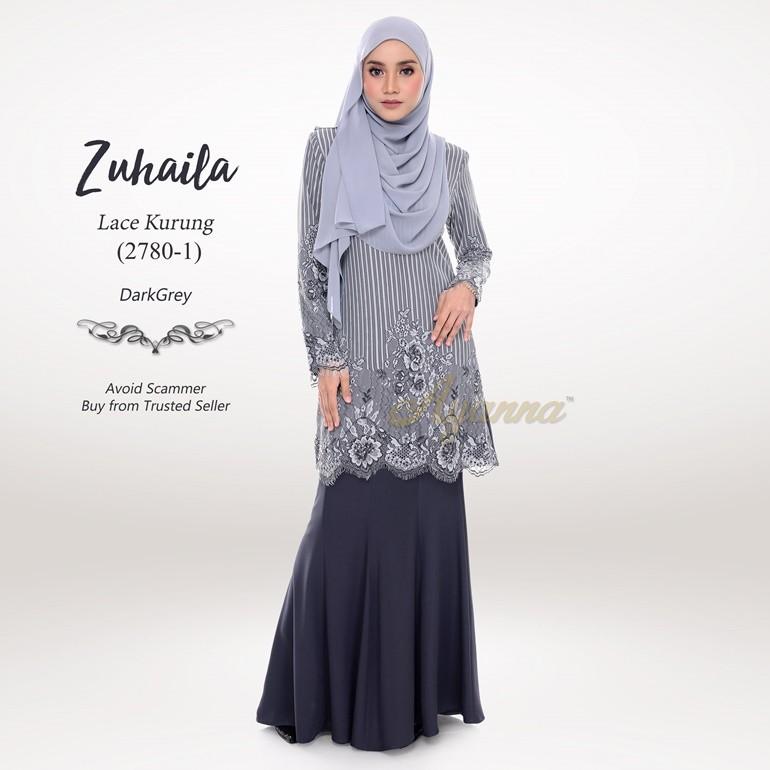 Zuhaila Lace Kurung 2780-1 (DarkGrey)