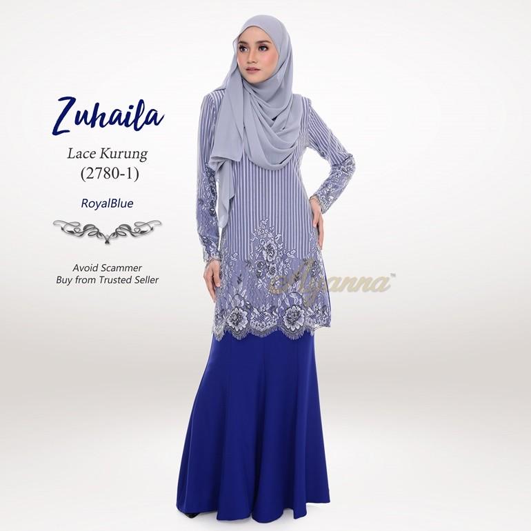 Zuhaila Lace Kurung 2780-1 (RoyalBlue)