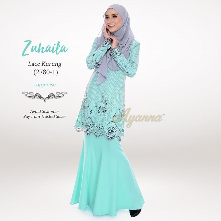 Zuhaila Lace Kurung 2780-1 (Turquoise)