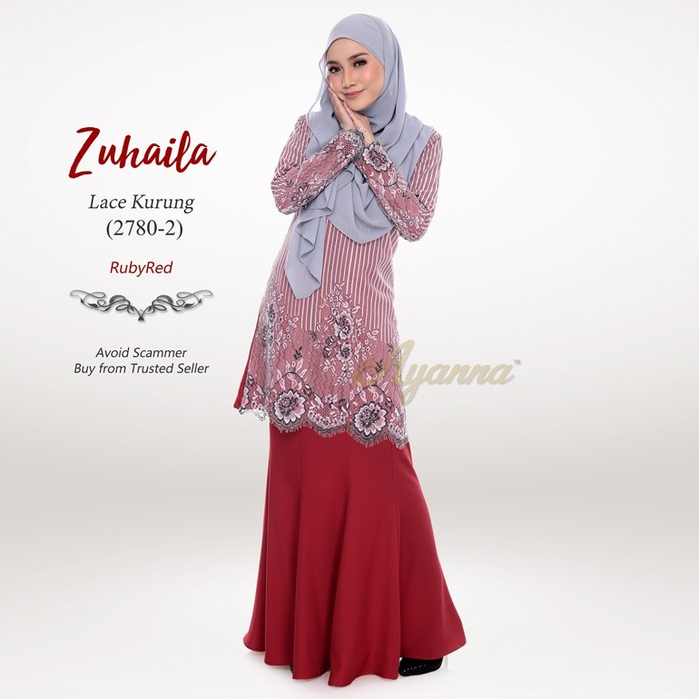 Zuhaila Lace Kurung 2780-2 (RubyRed)