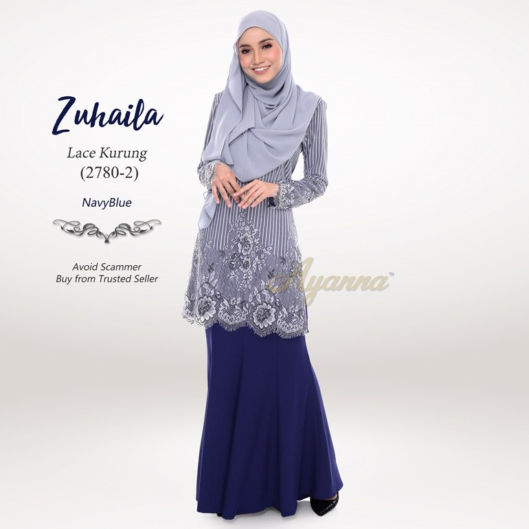 Zuhaila Lace Kurung 2780-2 (NavyBlue)