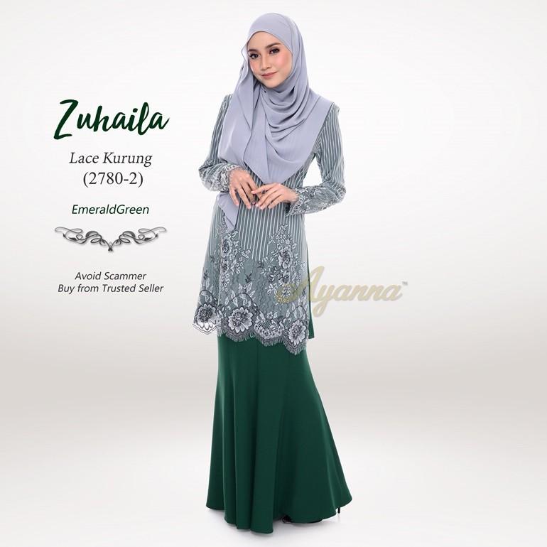 Zuhaila Lace Kurung 2780-2 (EmeraldGreen)