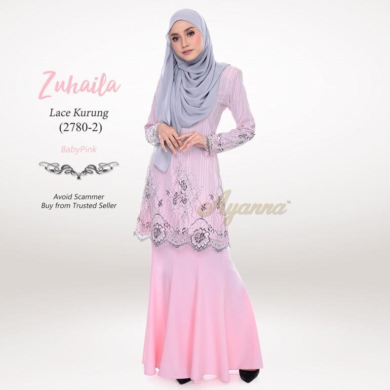 Zuhaila Lace Kurung 2780-2 (BabyPink)