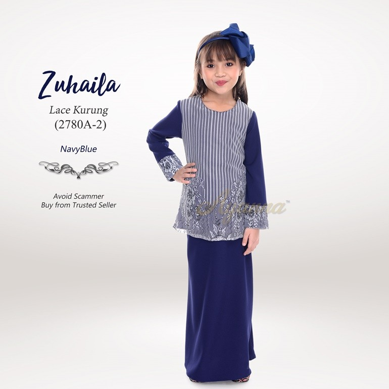 Zuhaila Lace Kurung 2780A-2 (NavyBlue)