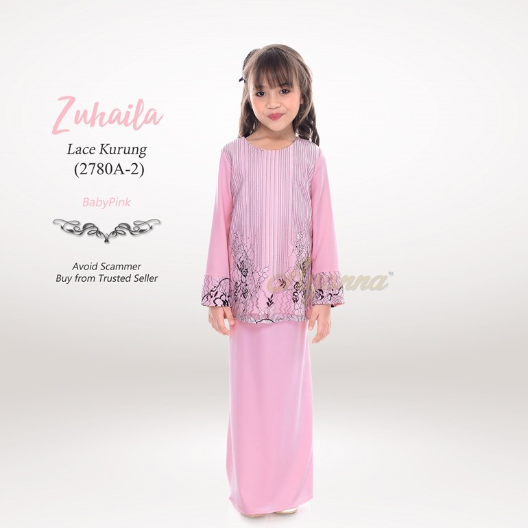 Zuhaila Lace Kurung 2780A-2 (BabyPink)