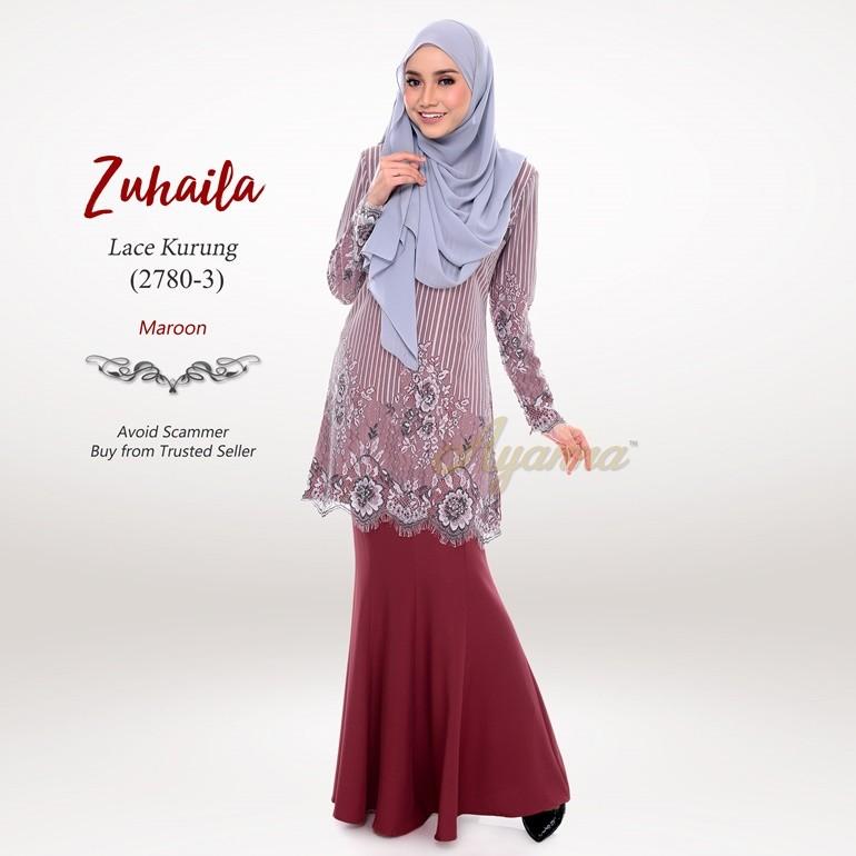 Zuhaila Lace Kurung 2780-3 (Maroon)