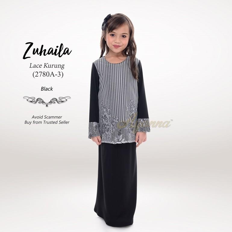 Zuhaila Lace Kurung 2780A-3 (Black)