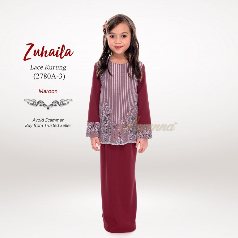 Zuhaila Lace Kurung 2780A-3 (Maroon)